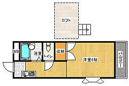 レオパレス夙川[104号室]の間取り
