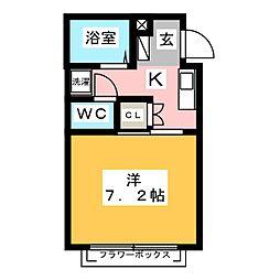 メゾンNAGATA 2階1Kの間取り