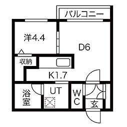 JR函館本線 桑園駅 徒歩9分の賃貸マンション 2階1DKの間取り