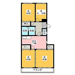 パピヨン香流[3階]の間取り