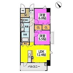 ルーベンス ローザ I 4階2LDKの間取り