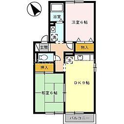 静岡県湖西市新居町中之郷の賃貸アパートの間取り