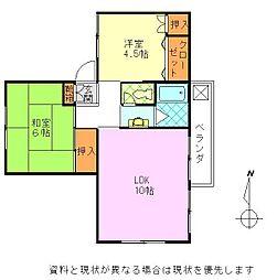 桜ヶ丘マンションA棟[21号室]の間取り