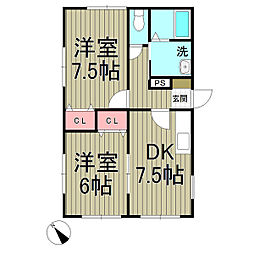 梅澤ハイツ[101号室]の間取り