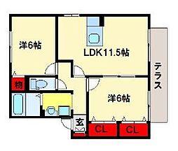 福岡県大野城市大城5丁目の賃貸アパートの間取り