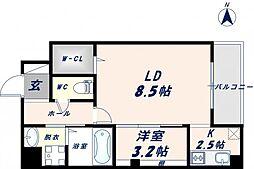 Osaka Metro千日前線 北巽駅 徒歩17分の賃貸マンション 3階1LDKの間取り
