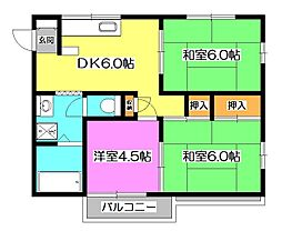 埼玉県所沢市大字荒幡の賃貸アパートの間取り