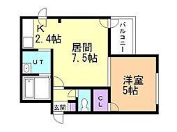 ヌーベルコート 3階1DKの間取り