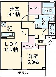 愛知県安城市安城町宮前の賃貸アパートの間取り
