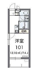 レオネクストMorishita 1階1Kの間取り