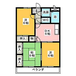愛知県知多市にしの台2丁目の賃貸マンションの間取り