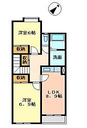 福岡県遠賀郡遠賀町大字木守の賃貸アパートの間取り