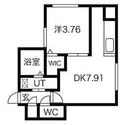 THE SAPPORO GRANDE(ザサッポログランデ) 4階1DKの間取り