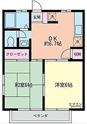 神奈川県横浜市港北区高田西3丁目の賃貸アパートの間取り