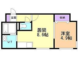リデーレ豊平 4階1DKの間取り