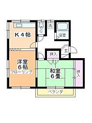 メゾン藤木A・B[B-202号室]の間取り
