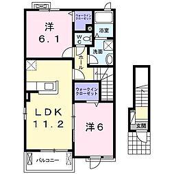 桜ガルデン 2階2LDKの間取り