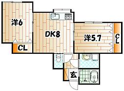 福岡県北九州市門司区吉志1丁目の賃貸アパートの間取り