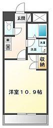 JR山陽本線 北長瀬駅 4kmの賃貸マンション 1階1Kの間取り