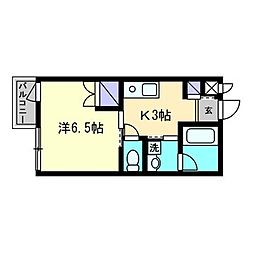 ジャンヌ喜与町[203号室]の間取り