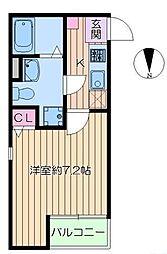 東京メトロ千代田線 綾瀬駅 徒歩8分の賃貸アパート 2階1Kの間取り