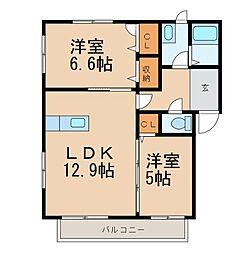 和歌山県和歌山市松ケ丘2丁目の賃貸アパートの間取り