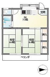 水堀コーポ[1階]の間取り