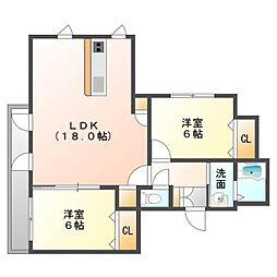 北海道札幌市東区北二十六条東21丁目の賃貸マンションの間取り