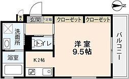 広島県広島市佐伯区吉見園の賃貸アパートの間取り