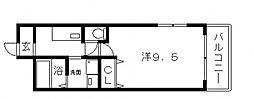 大阪府大阪市住吉区長居1丁目の賃貸アパートの間取り