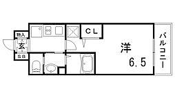 エステムコート神戸ハーバーランド前Ⅶレーベル[15階]の間取り