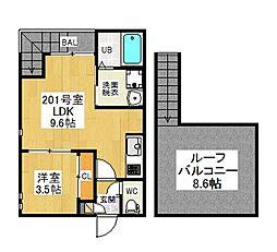 愛知県名古屋市西区歌里町の賃貸アパートの間取り