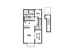 長野県松本市元町1丁目の賃貸アパートの間取り