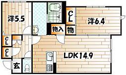福岡県北九州市小倉北区上到津1丁目の賃貸アパートの間取り