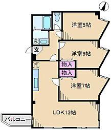 ザ・クレスト[7階]の間取り
