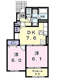 広島県福山市駅家町大字上山守の賃貸アパートの間取り
