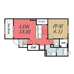 京成本線 京成成田駅 バス14分 南七栄ニュータウン下車 徒歩4分の賃貸アパート 1階1LDKの間取り