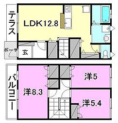 [テラスハウス] 愛媛県松山市和泉北3丁目 の賃貸【/】の間取り
