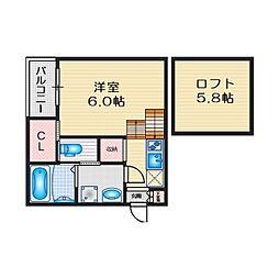 愛知県名古屋市天白区平針1丁目の賃貸アパートの間取り