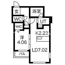 (仮称)月寒東5-6MS A棟 4階1LDKの間取り