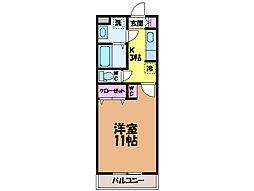 愛媛県松山市小坂3丁目の賃貸アパートの間取り