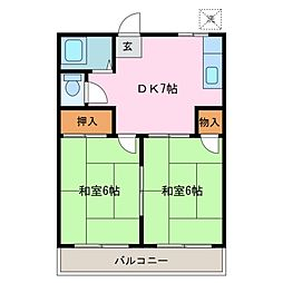 ハイツ松村[2階]の間取り