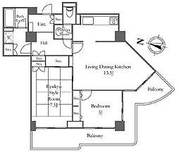 リバーシティ21イーストタワーズ 8棟 12階2LDKの間取り