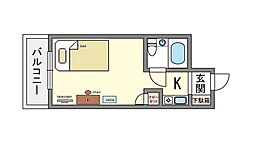 家具・家電付き コンドミニアム舞鶴[6階]の間取り
