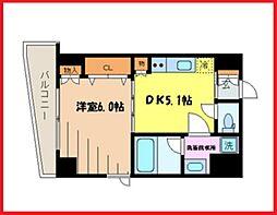 スタイル東上野 2階1DKの間取り