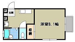 京都府京都市左京区下鴨西半木町の賃貸アパートの間取り