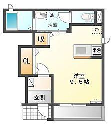バス 海吉下車 徒歩1分の賃貸アパート 1階1Kの間取り