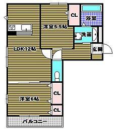 ボアソルテT(B棟)[2階]の間取り