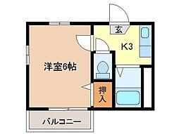 静岡県富士市中央町3丁目の賃貸アパートの間取り
