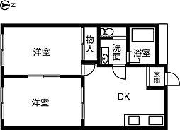 KIRAKUハイツ宮路[202号室]の間取り